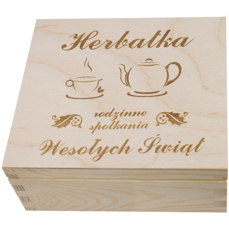 Herbaciarka pudełko na herbatę wykonane z drewna ozdobione grawerunkiem grawer Wesołych świąt