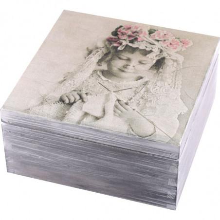 Pięknie ozdobione pudełko na herbatę Aniołek