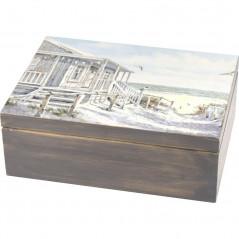 Pięknie ozdobione pudełko na herbatę Domek nad morzem