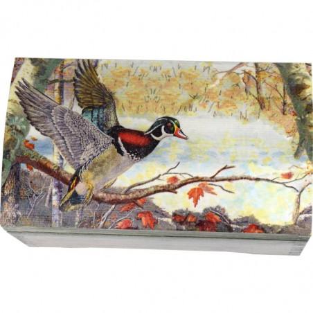 Drewniany kuferek na prezent z piękną kaczką