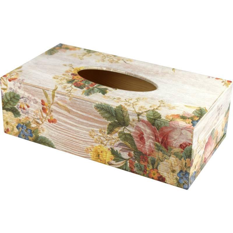 Drewniany chustecznik, prostokątne pudełko na chusteczki, ozdobione kwiatami