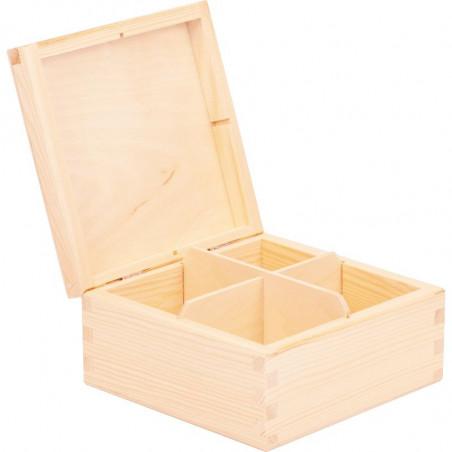drewniane pudełko na herbatę z grawerunkiem