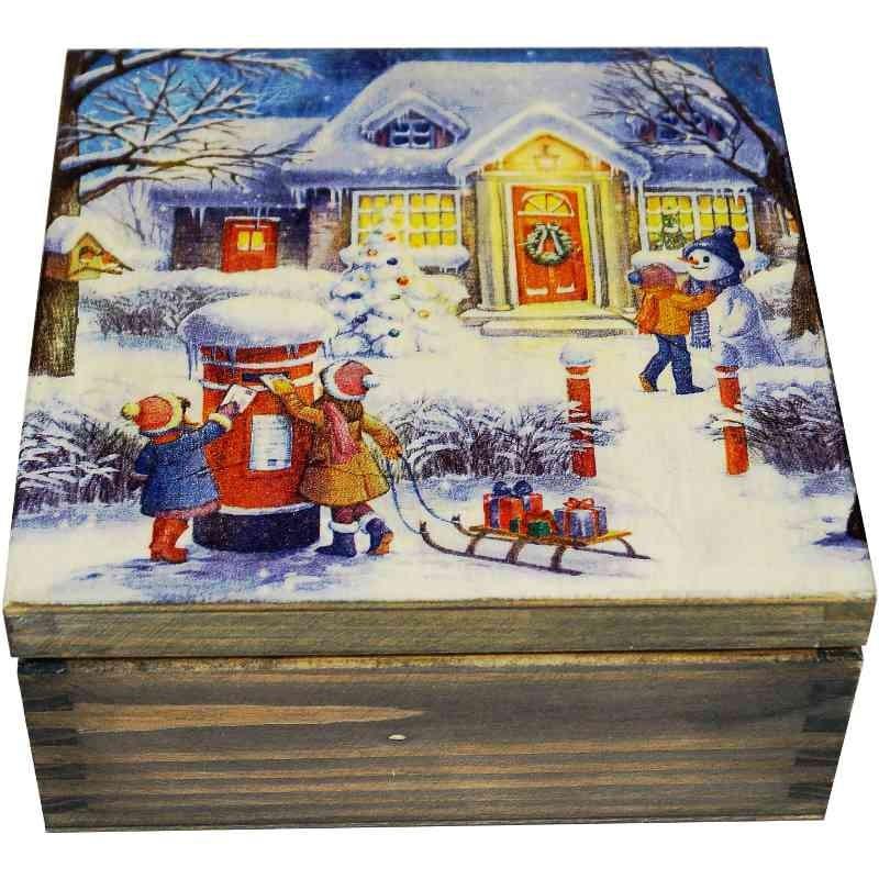 Herbaciarka decoupage - pudełko na herbatę z widokiem zimowych świąt