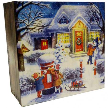 Herbaciarka dekupaż - drewniane pudełko na herbatę z widokiem zimowych świąt