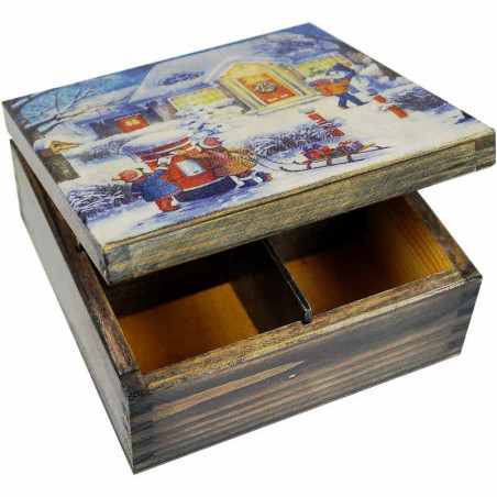 Drewniane pudełko na herbatę dekupaż z widokiem zimowych świąt