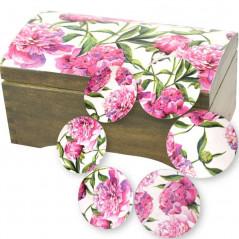 Kuferek z podstawkami w kwiaty piwonii (peonie) na prezent