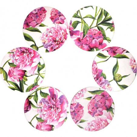 Komplet 6 (sześć) podstawek ozdobione kwiatami Piwonii (peonii)