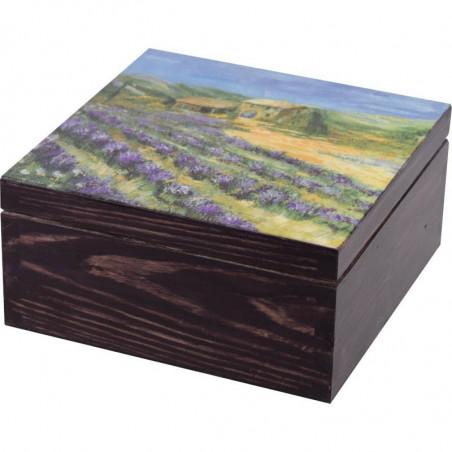 Ozdobna herbaciarka 4 przegródki z motywem lawendowe pole