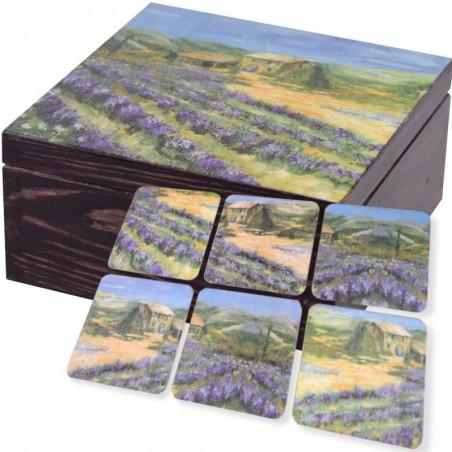 Pięknie ozdobione pudełko na herbatę z kompletem podstawek  Lawendowe pole