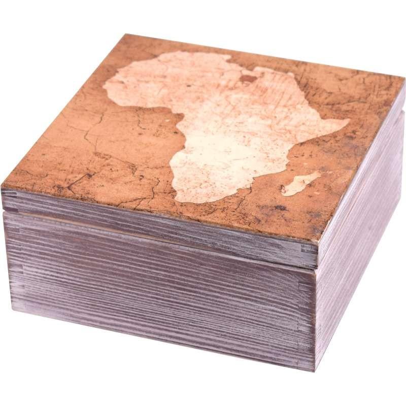 piękne pudełko na herbatę z mapą Afryki