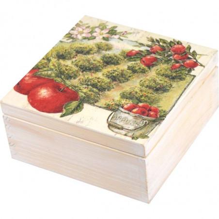 Ozdobna herbaciarka 4 przegródki z motywem Jabłkowy Sad