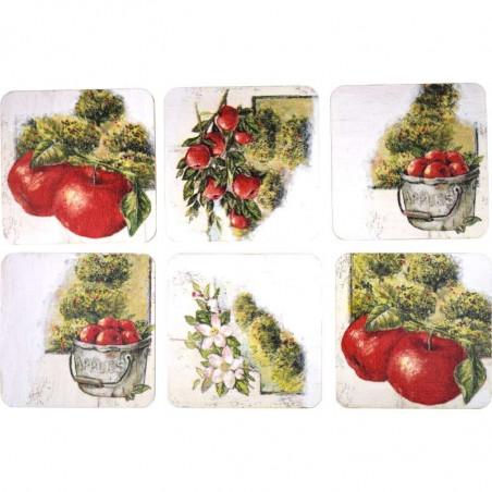 komplet kwadratowych podstawek ozdobnych Jabłkowy sad