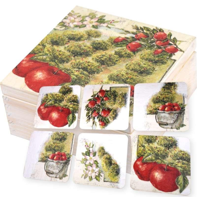 Pięknie ozdobione pudełko na herbatę z kompletem podstawek  Jabłkowy Sad