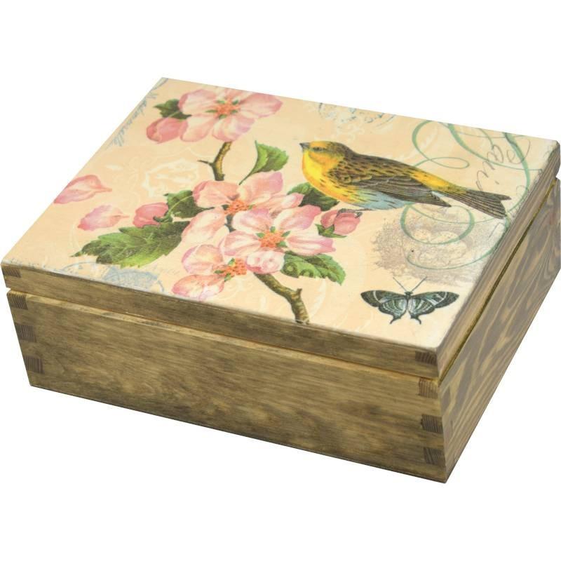 Pięknie ozdobione pudełko na herbatę, biżuterie i inne drobne skarby