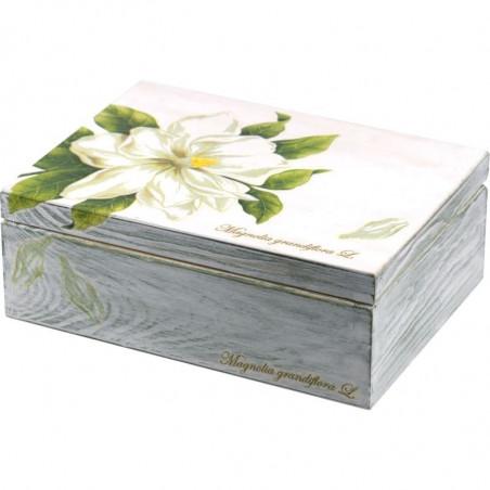 Pięknie ozdobione pudełko na herbatę z kwiatem magnolii