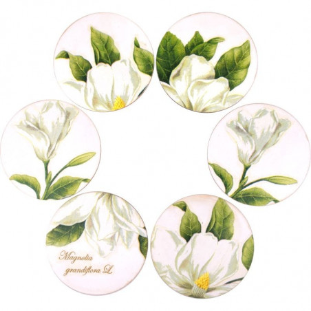 komplet okrągłych ozdobnych podstawek z kwiatem magnolii