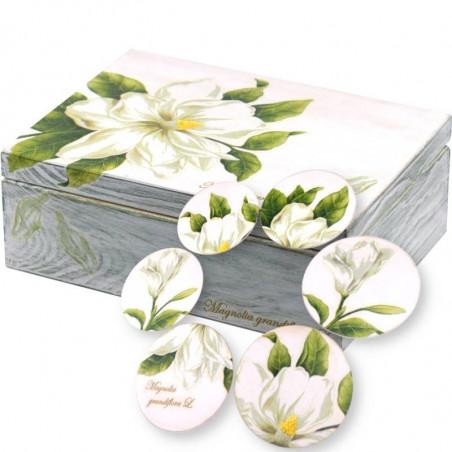 zestaw herbaciarka 6 podstawek magnolia grandiflora