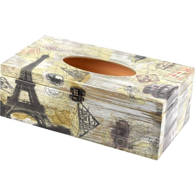 Chustecznik, prostokątne drewniane pudełko na chusteczki, ozdobione symbole podróży