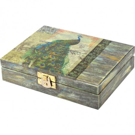 Ozdobna drewniana szkatułka na prezent paw w ogrodzie