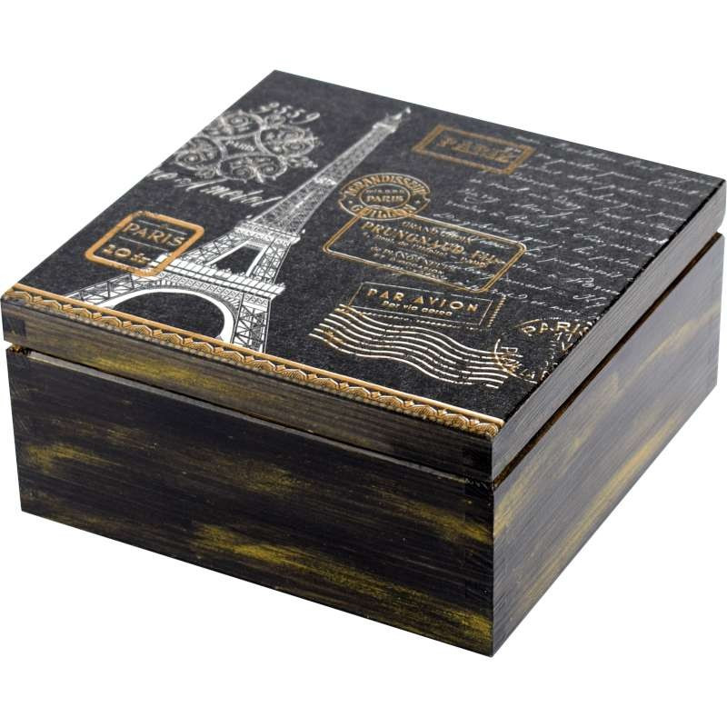 pudełko na herbatę elegancja francja z wieżą Eiffla