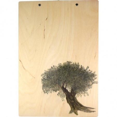 Ozdobna podstawka z klipsem na prezent z widokiem drzewa
