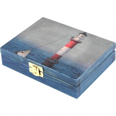 Ozdobna drewniana szkatułka na prezent latarnia morska