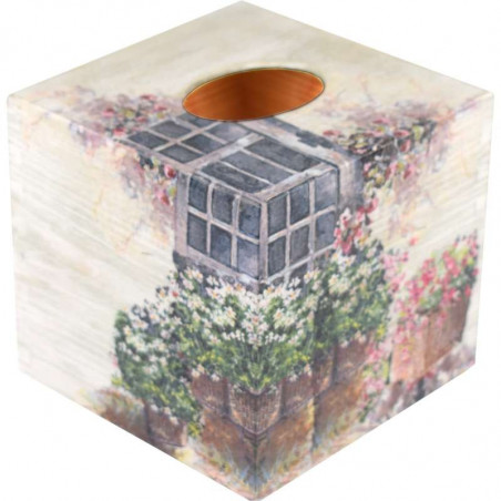 square wooden box for handkerchiefs decorated with a decoupage method with a floral pattern