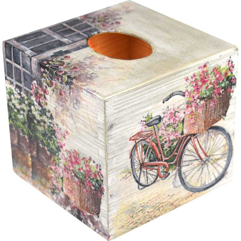 Handkerchief - a wooden box for handkerchiefs decorated with flowers