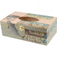 Chustecznik, prostokątne drewniane pudełko na chusteczki, ozdobione