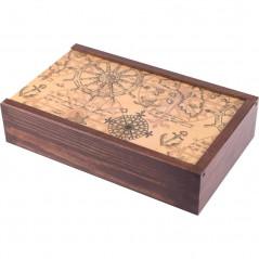 drewniana ozdobna szkatułka na zdjęcia i pendrive