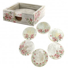 A set of round coasters in a gift box
