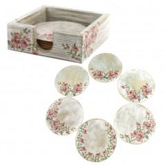 Zestaw okrągłych podstawek w pudełku na prezent