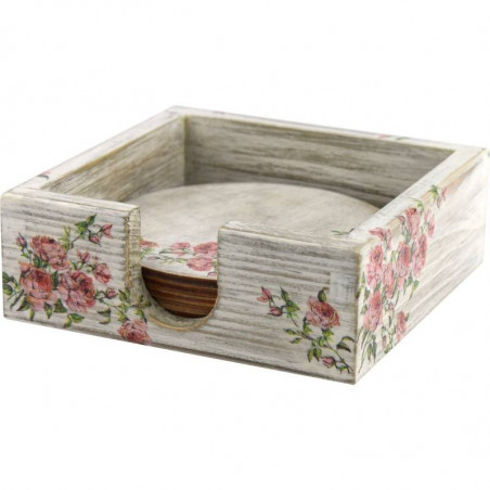 decorative box with flower coasters