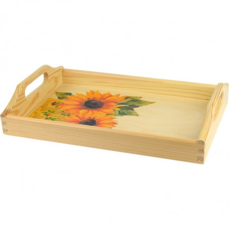 Decorative home tray, floral motif