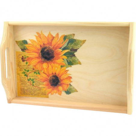 Decorative sunflower tray, made by decoupage, floral motif
