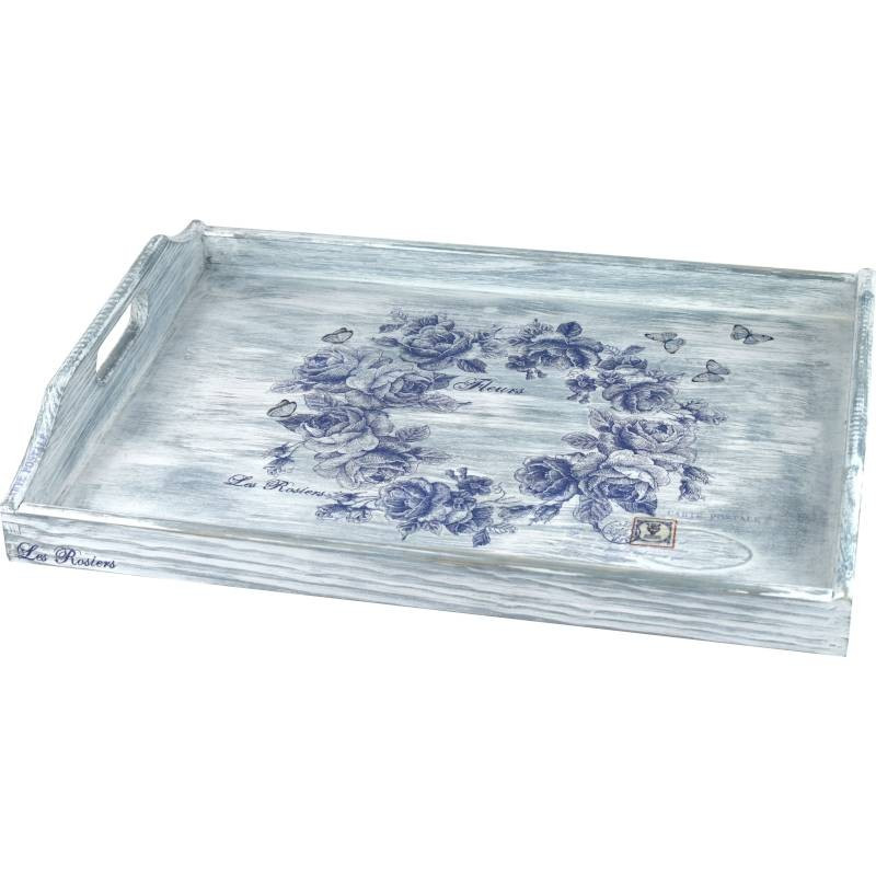 Large decorative home tray, floral motif