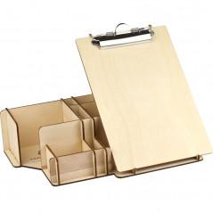 duży organizer na biurko z podkładką z klipsem