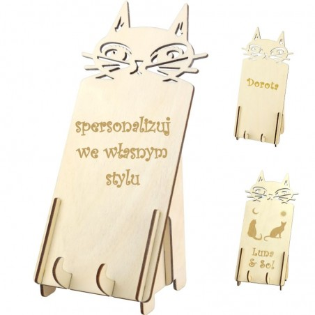 podstawka pod telefon na prezent z kotkiem i własnym grawerunkiem