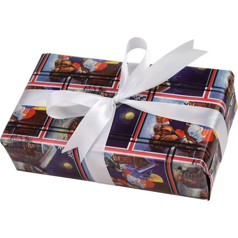 Prezent zapakowany tradycyjnie - kolorowy ozdobny prezentowy papier z srebrną wstążką - prezenty madegro